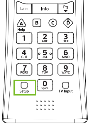 Setup button on an xr-11 remote