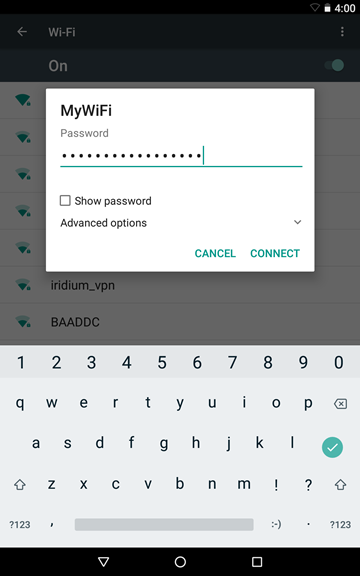 Wi-Fi credentials being entered on Android.