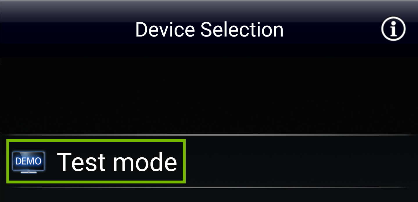 Device selection with example TV Selected