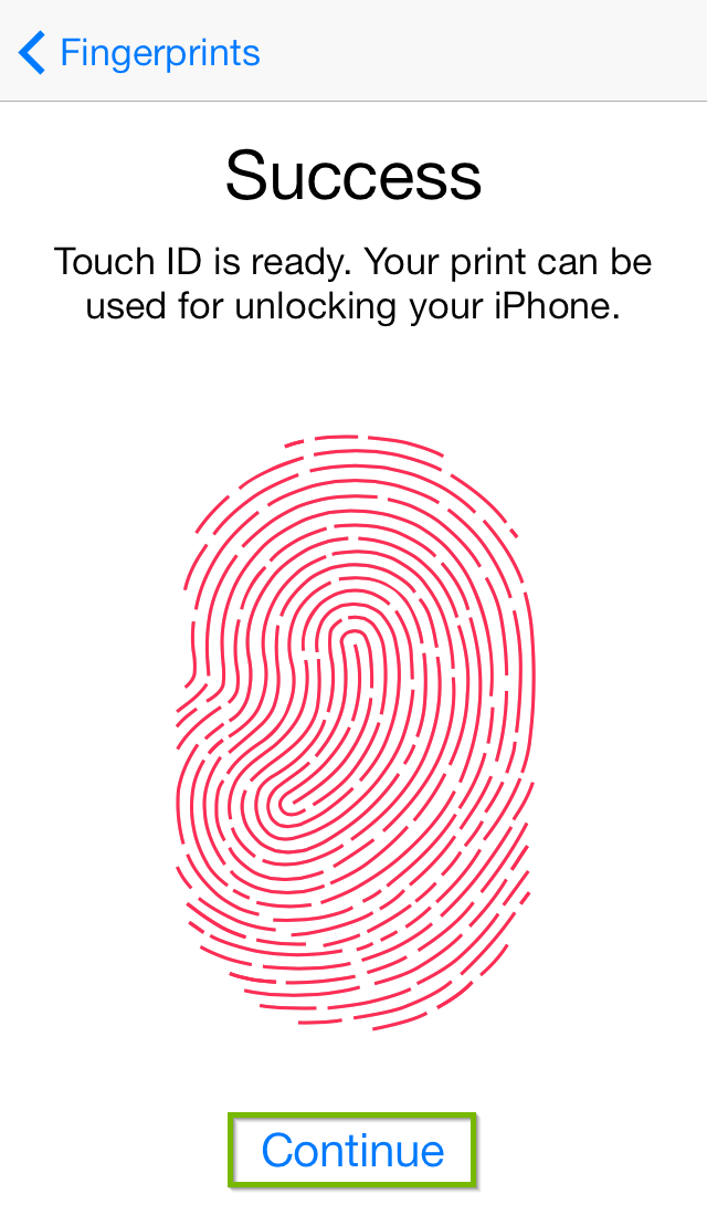 Touch ID setup successful screen with Continue highlighted.