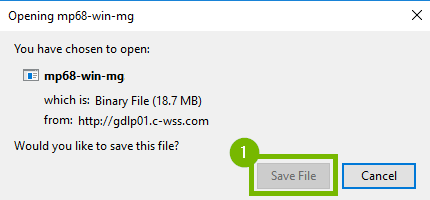 Mozile Firefox file download pop-up with Save File button highlighted.