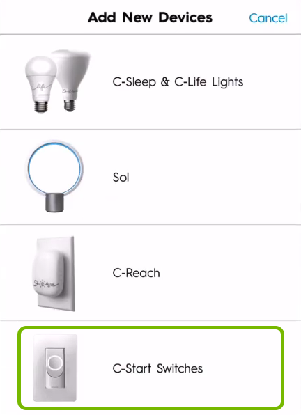 Smart switch highlighted in C by GE app.
