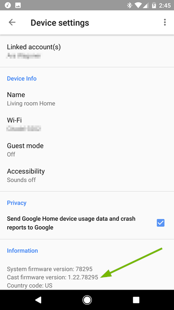 Firmware version pointed out on Device Settings screen
