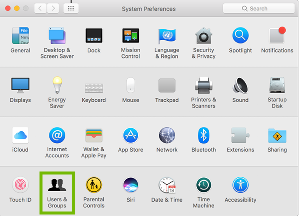 System Preferences with Users and Groups highlighted.