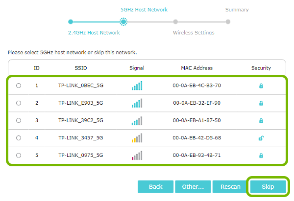List of 5GHz networks and Skip button highlighted in range extender quick setup.