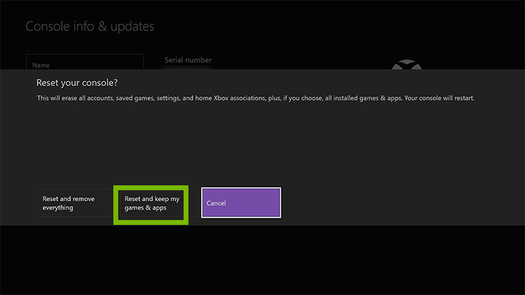 Xbox one reset your console screen showing reset and keep my games.