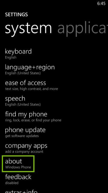 Settings screen on Windows phone