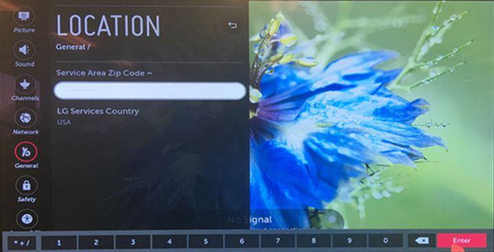 Location settings screen.