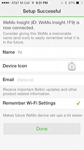 WeMo Customization. Screenshot