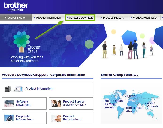 Brother website highlighting the software download link. Screenshot.