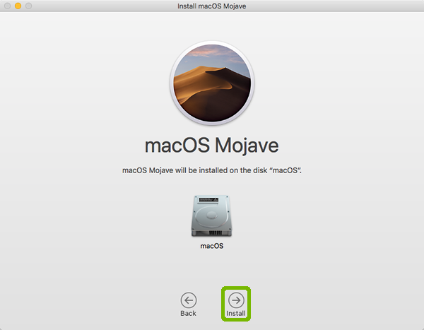 Mojave disk selection with Install highlighted.