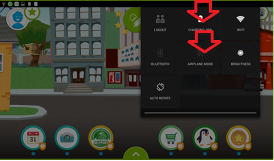 Screenshot of the LeapFrog Epic's interface highlighting the need to swipe downward from the top right of the screen.
