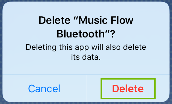 Screenshot of the prompt to delete the music flow bluetooth app with delete highlighted
