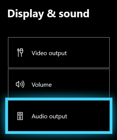 Display & sound settings with Audio output highlighted