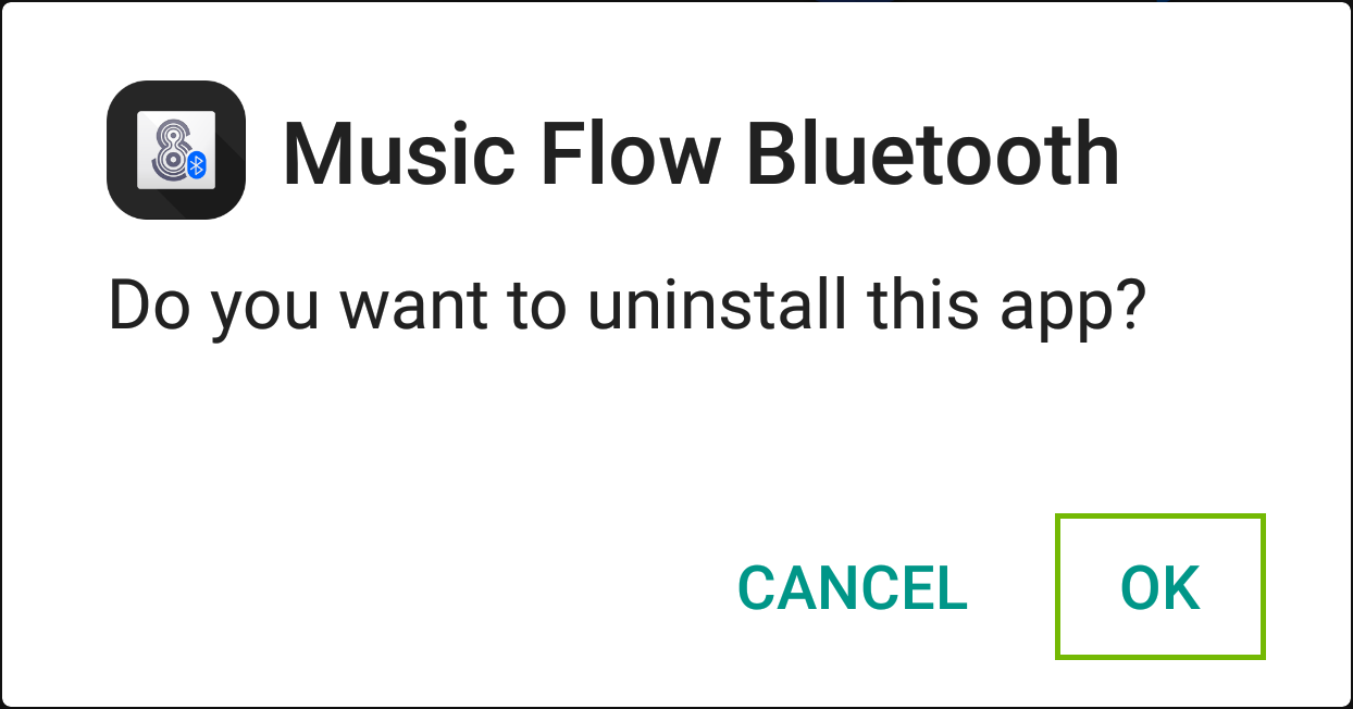 screenshot of android uninstall screen for music flow bluetooth with ok highlighted