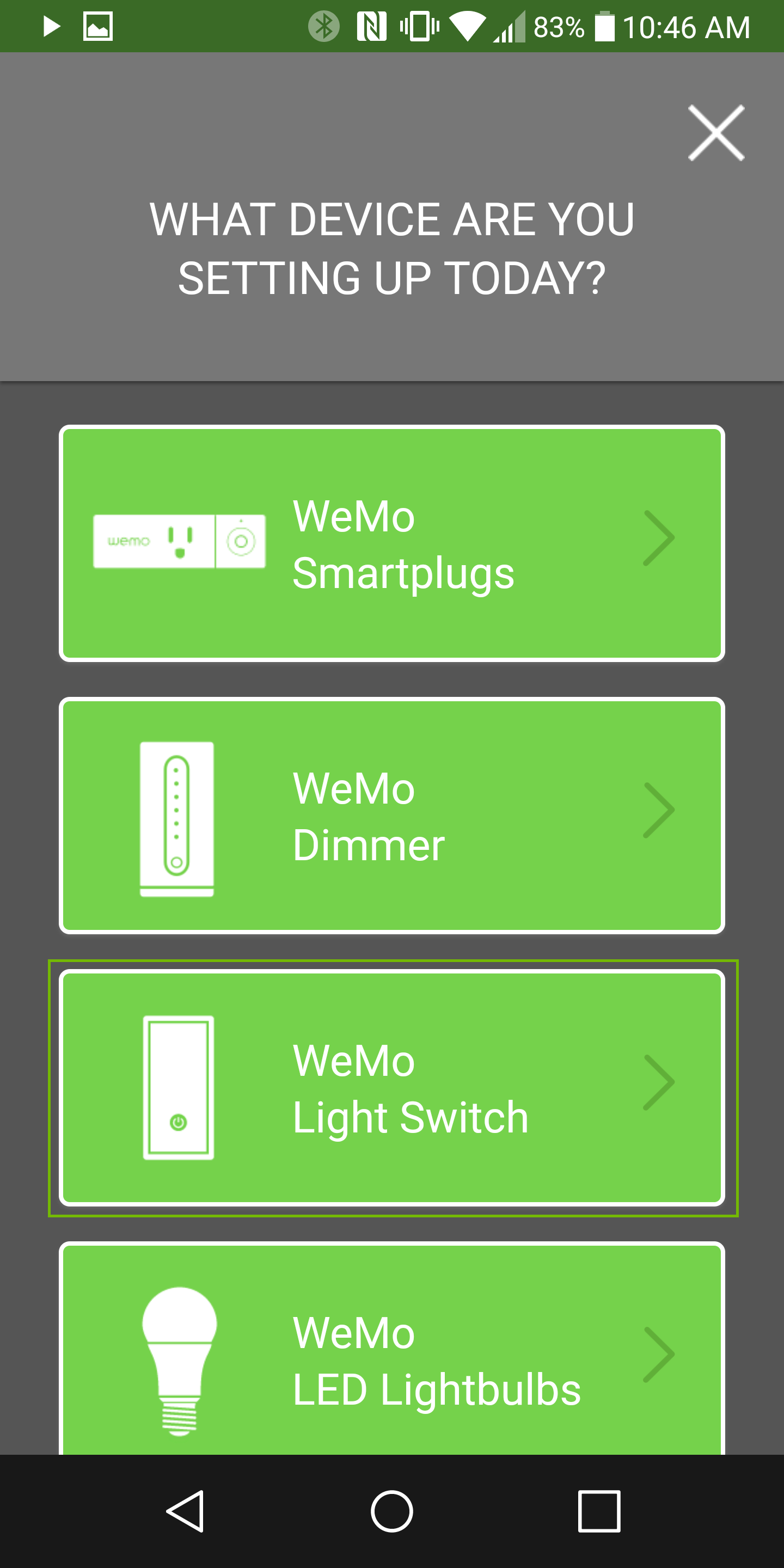 Get Started with Light Switch highlighted.