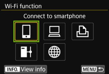 Wi-Fi Function screen with connect to smartphone highlighted