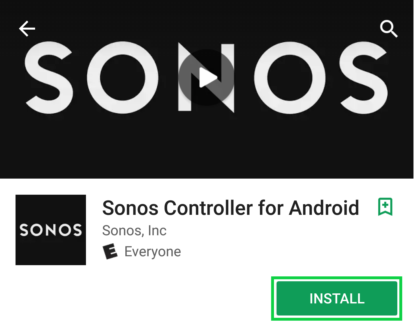 Sonos app page with the install button highlighted.