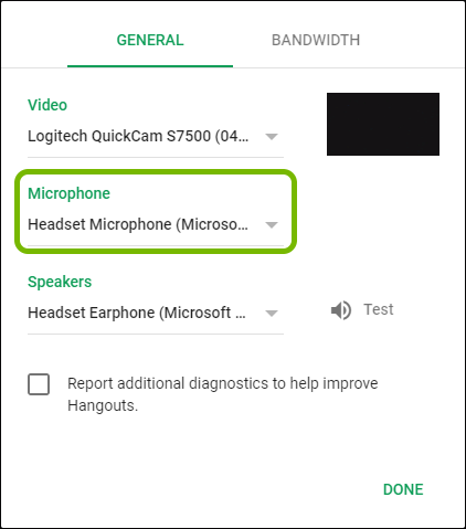 Microphone selector highlighted in Google Hangouts settings.