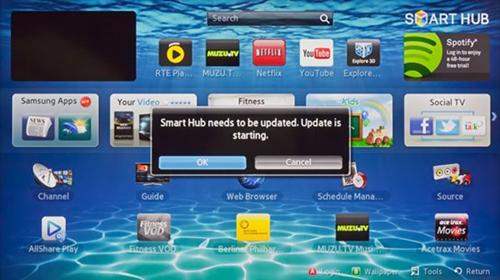Samsung Smart Hub Update popup.