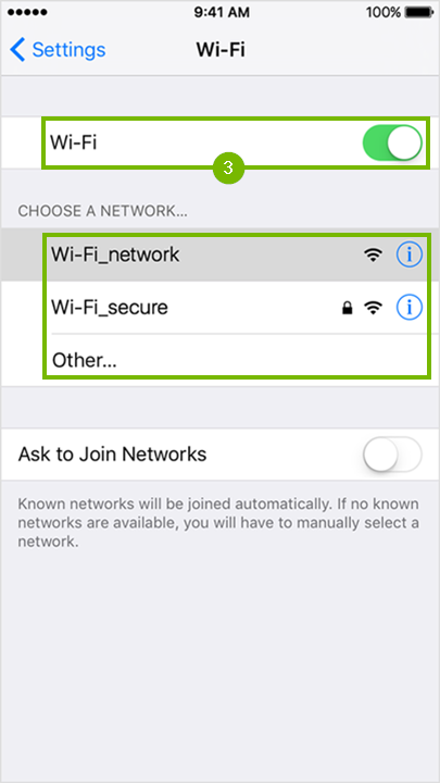 Wi-Fi settings page with Wi-Fi toggle highlighted and the list of available networks highlighted.
