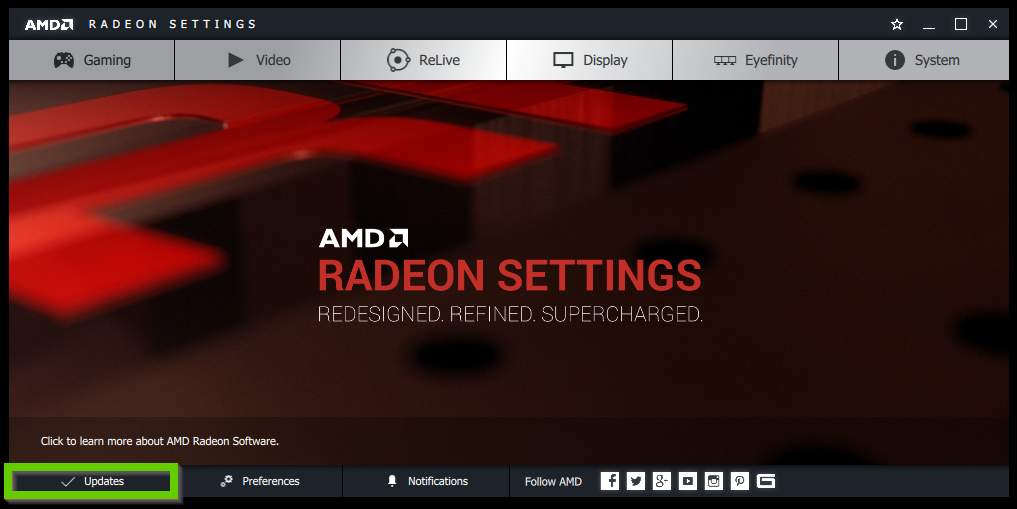AMD Radeon Settings showing the update button