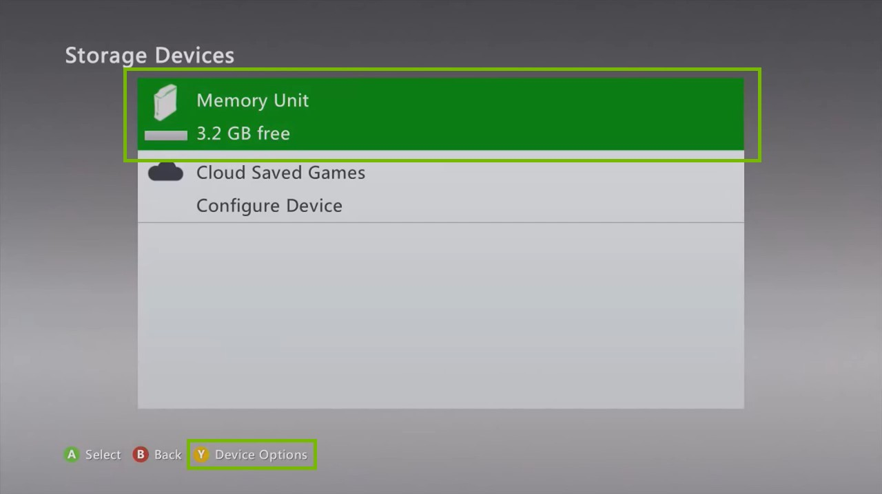 Xbox 360 Storage Devices screen, displaying the available storage mediums on your Xbox.