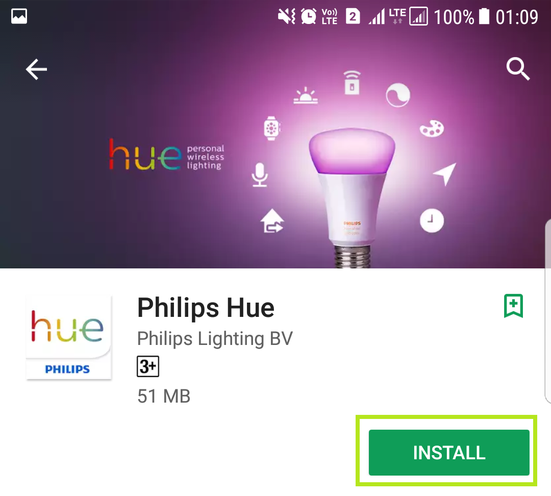 Philips Hue app store page with open highlighted