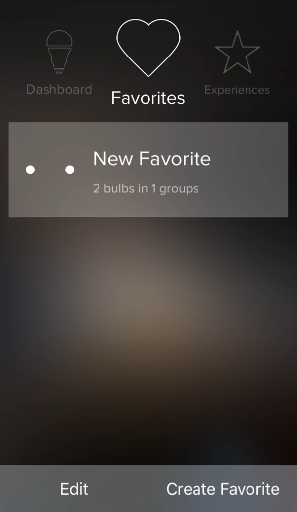 Favorites tab in ilumi app.