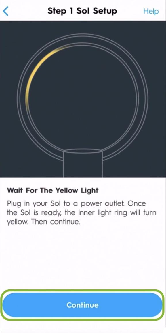 wait for yellow light around lamp