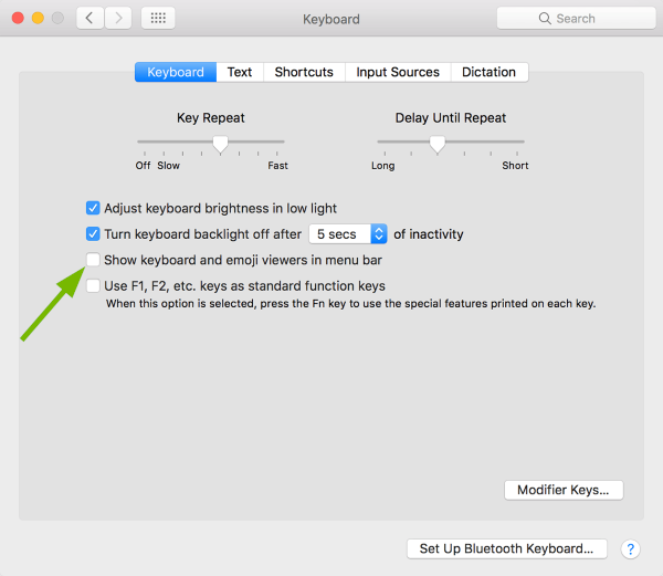 On-screen keyboard toggle box pointed out in Keyboard Preferences in macOS.