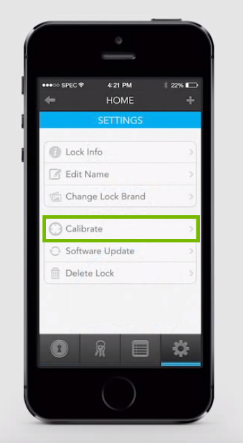 Screenshot of settings with calibrate highlighted