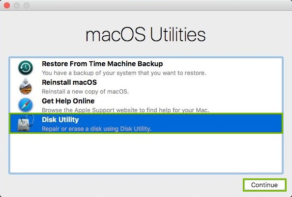 Disk Utility and Continue highlighted