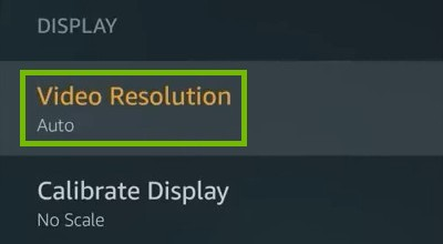 Display with Video Resolution highlighted.