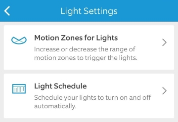 Light settings in mobile app