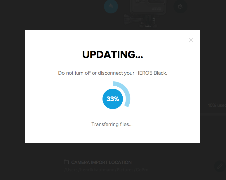GoPro Quik app processing an available update.
