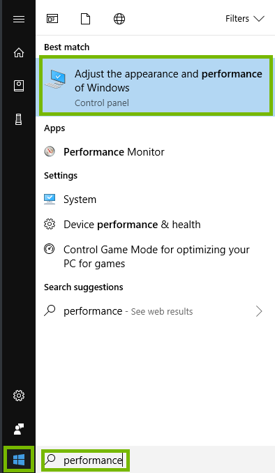 start menu with search for performance and adjust performance choice highlighted