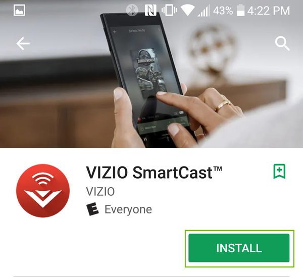 Visio Smartcast store page with install highlighted.