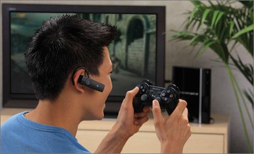 Gamer enjoying the PlayStation.