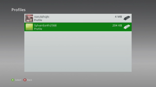 Profile selection in Xbox 360 settings.