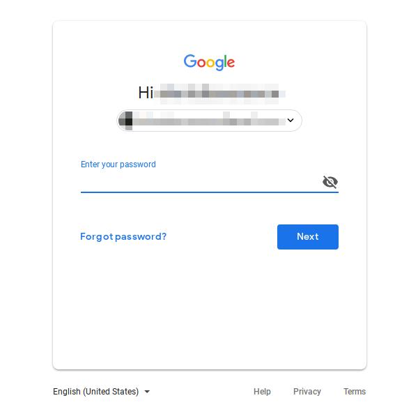 Google accounts password prompt.