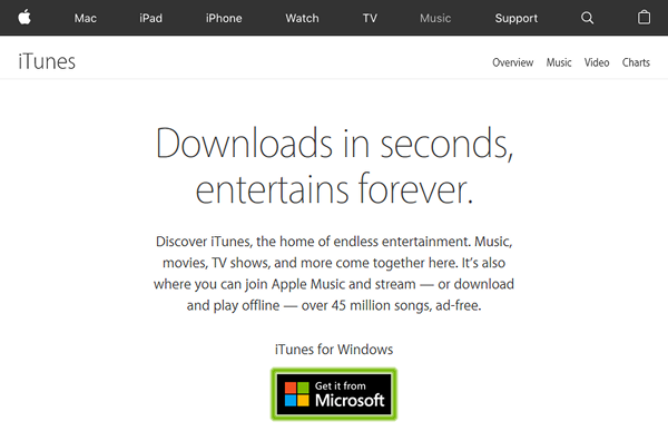 Apple iTunes page with Get it from Microsoft button highlighted.