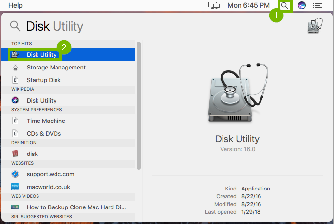 spotlight highlighted with the disk utility application highlighted