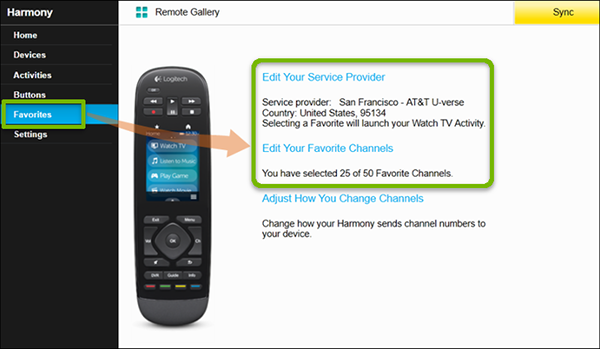 MyHarmony program with Favorites and Edit Your Favorite Channels highlighted.