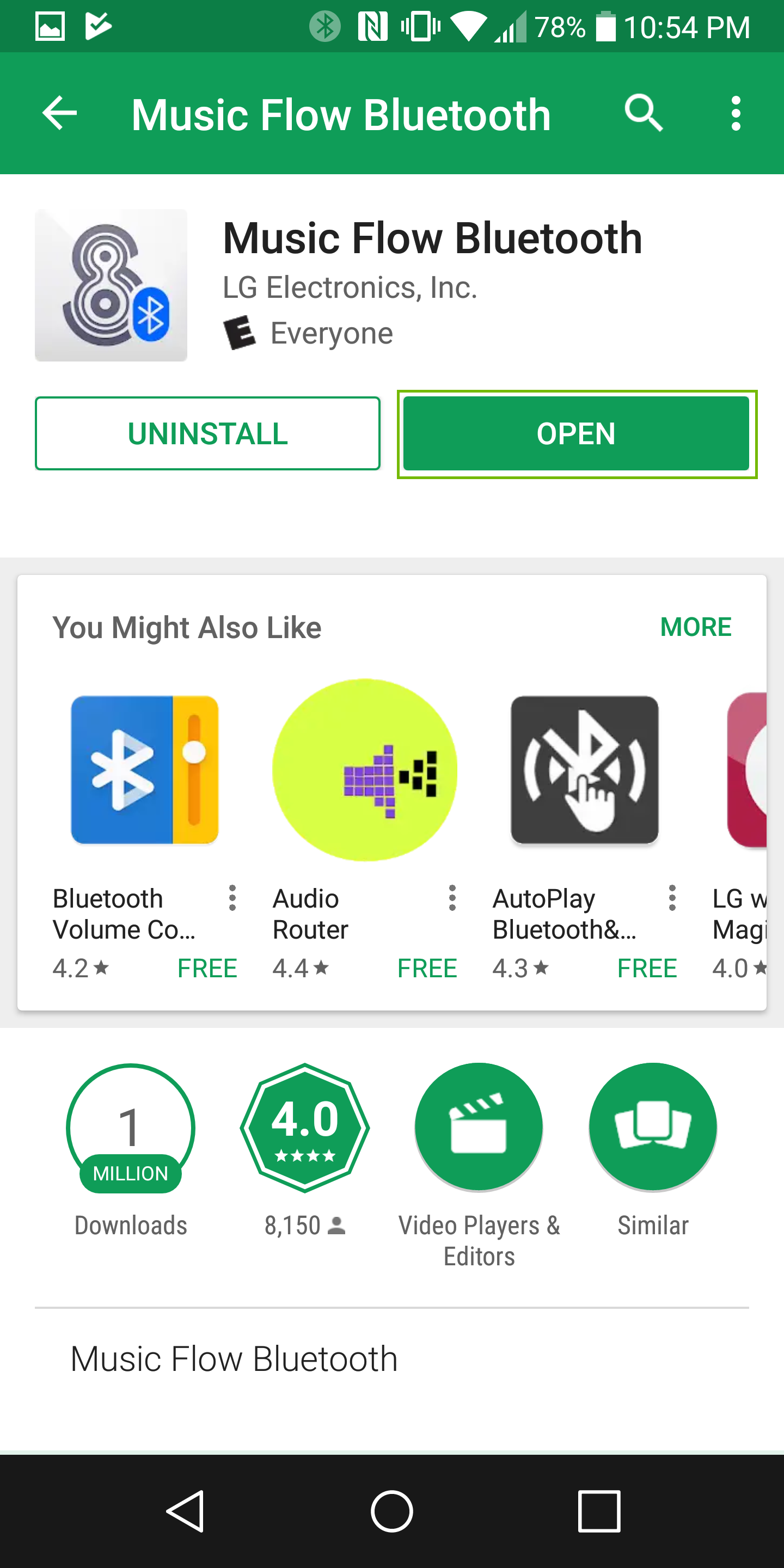screenshot of the music flow bluetooth app install screen with open highlighted
