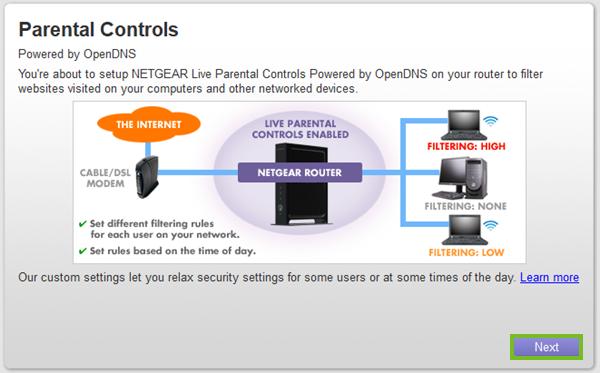 Next button for parental controls