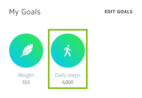 Daily steps button highlighted in Health Mate app.