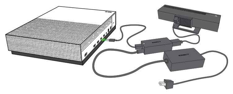 Kinect adapter being plugged into console.