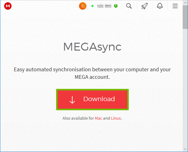 MegaSync client page with Download highlighted.