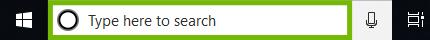 Windows 10 search bar.
